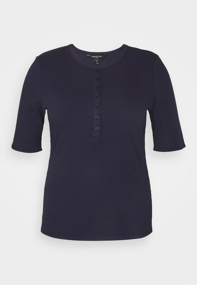 JESINTA BUTTON FRONT TEE - Basic T-shirt - deep indigo