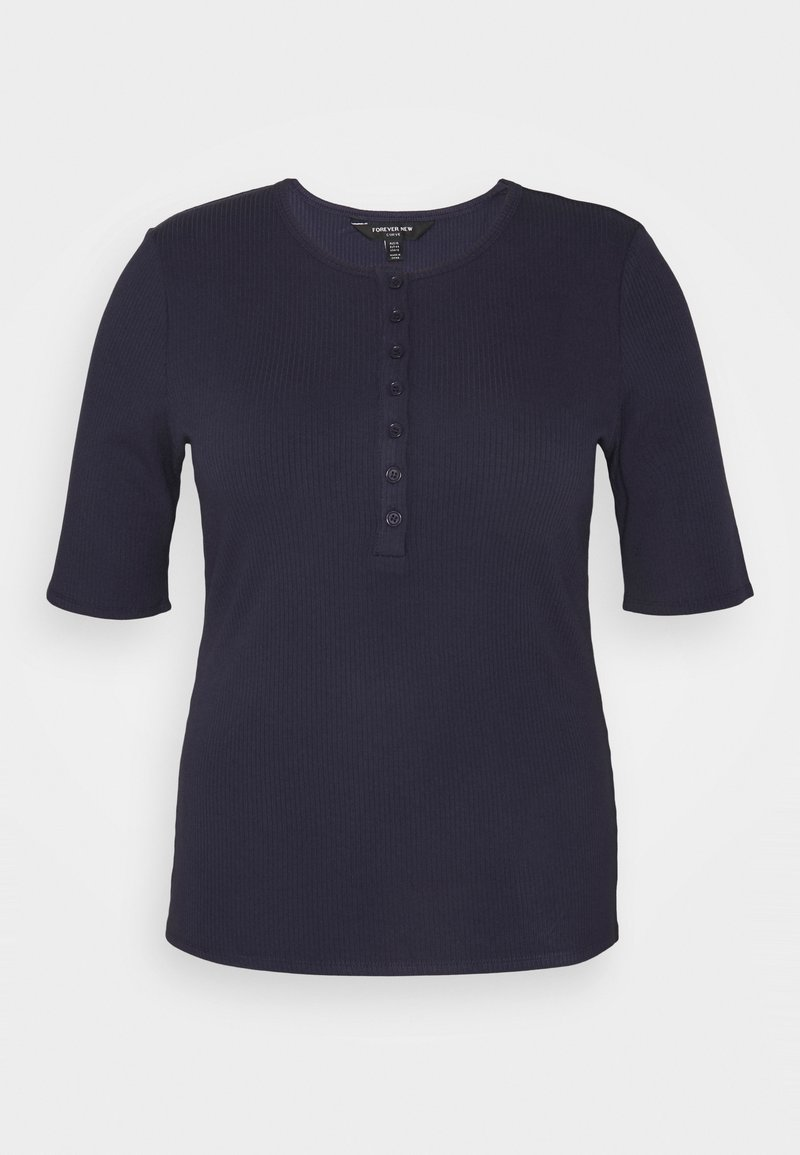 Forever New Curve - JESINTA BUTTON FRONT TEE - Basic T-shirt - deep indigo