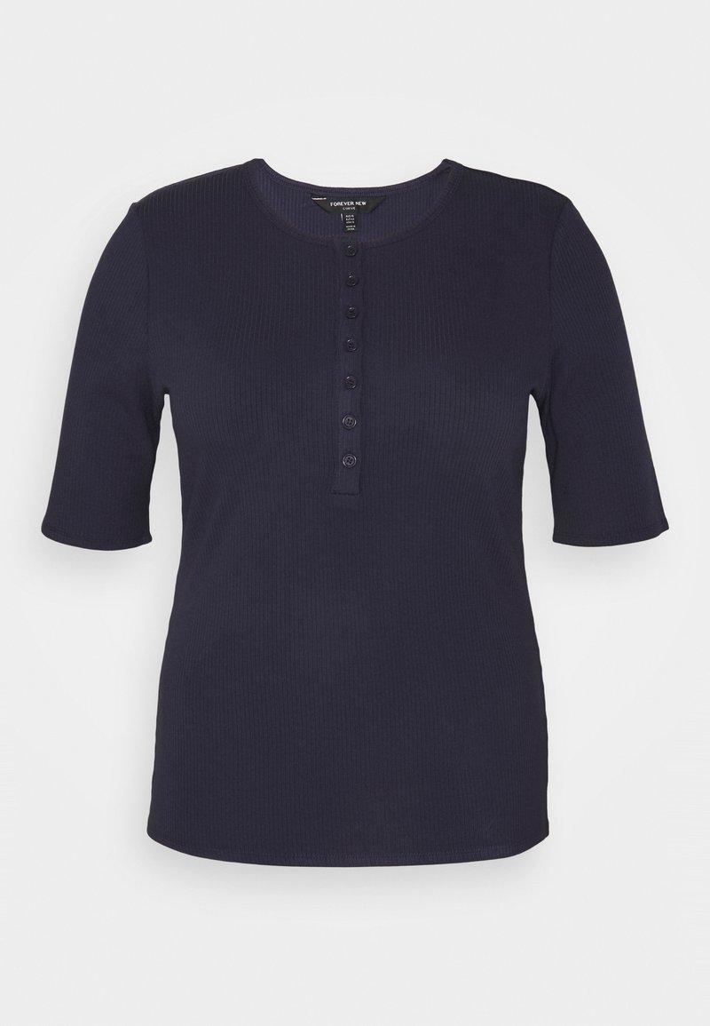 Forever New Curve - JESINTA BUTTON FRONT TEE - Basic T-shirt - deep indigo
