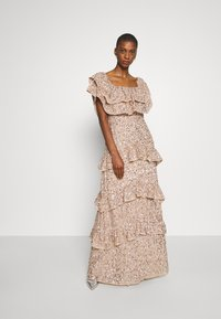 Maya Deluxe - BARDOT ALL OVER SEQUIN MAXI DRESS WITH RUFFLES - Abito da sera - taupe blush - 0