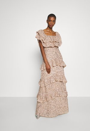 BARDOT ALL OVER SEQUIN MAXI DRESS WITH RUFFLES - Occasion wear - taupe blush