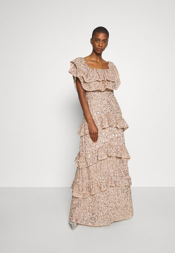 BARDOT ALL OVER SEQUIN MAXI DRESS WITH RUFFLES