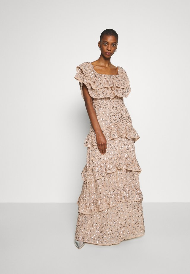 BARDOT ALL OVER SEQUIN MAXI DRESS WITH RUFFLES - Galajurk - taupe blush