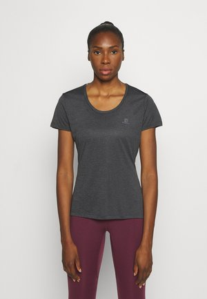 AGILE TEE - Sports shirt - ebony/black/heather