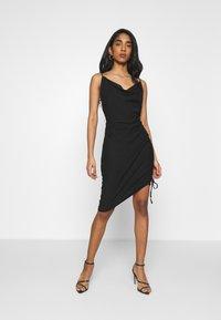 NA-KD - DRAPED HIGH SLIT MIDI DRESS - Cocktail dress / Party dress - black - 0