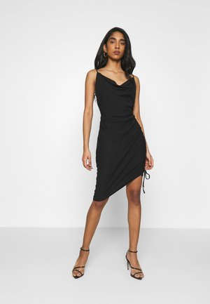 DRAPED HIGH SLIT MIDI DRESS - Cocktail dress / Party dress - black