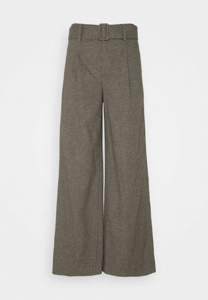BELTED WIDE SMALL NEUTRAL CHECK - Trousers - black