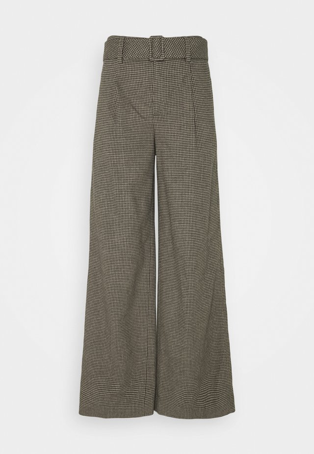BELTED WIDE SMALL NEUTRAL CHECK - Broek - black