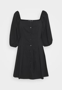 Missguided - PUFF SLEEVE BUTTON THROUGH MINI DRESS - Skjortekjole - black - 5