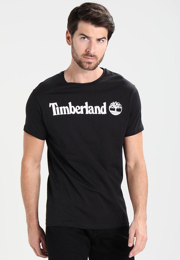 Timberland CREW LINEAR - T-shirt z nadrukiem - black/czarny Odzież Męska HUHY