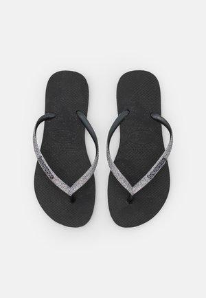 SLIM GLITTER - Japonki kąpielowe - black/dark grey metallic