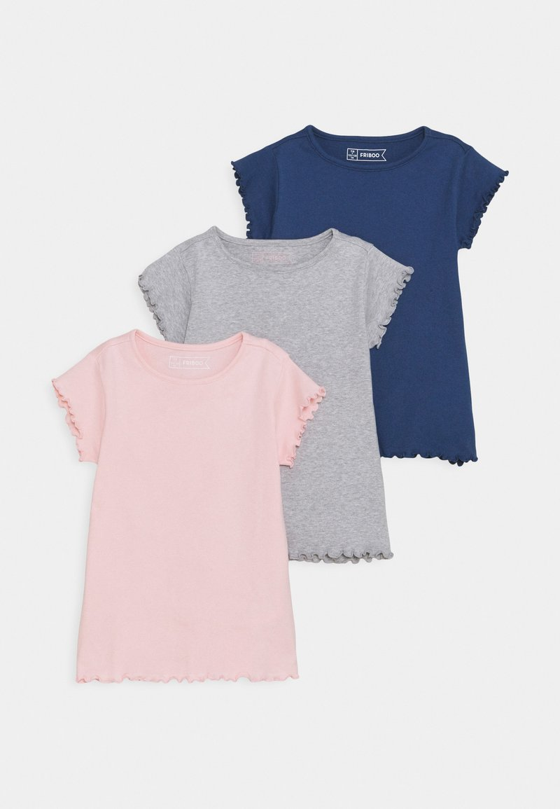 Friboo - 3 PACK - T-shirt basic - dark blue/pink/grey