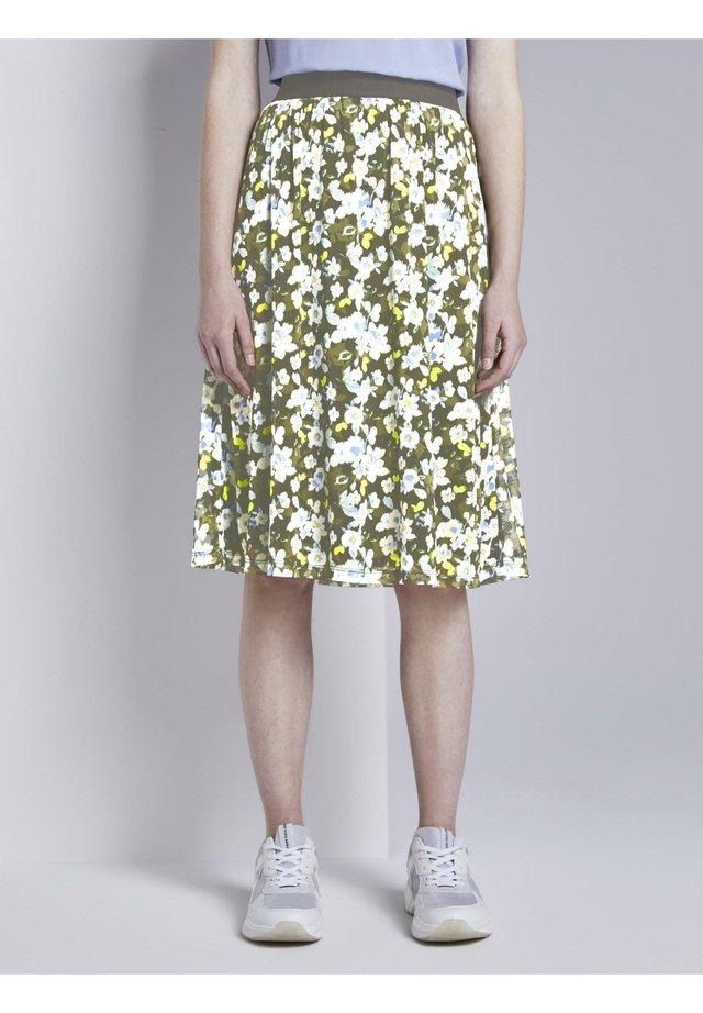 MIT FLORALEM MUSTER - Spódnica trapezowa - small khaki floral design