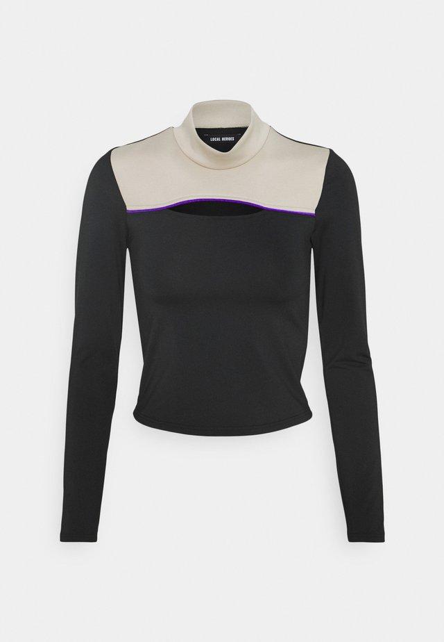 DREW CUTOUT TURTLENECK - Långärmad tröja - black/beige