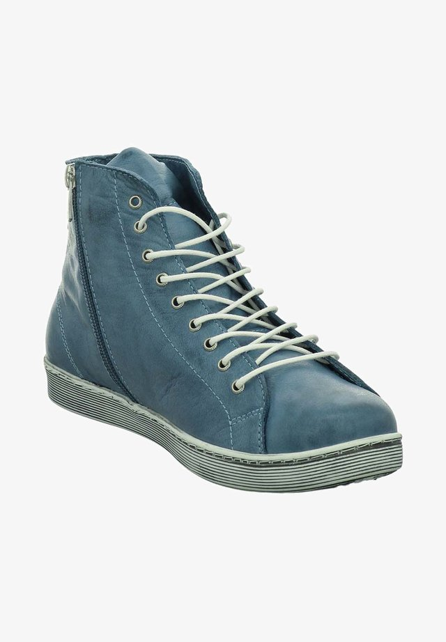 Lace-up ankle boots - blue white
