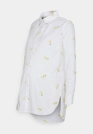 PCMNIVA - Button-down blouse - bright white/pale banana