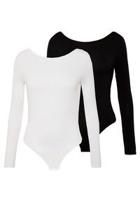 Missguided - LONG SLEEVE LOW BACK 2 PACK - T-shirt à manches longues - black/ white - 0