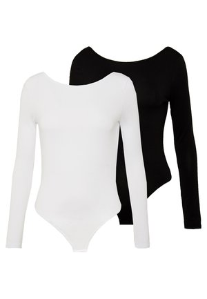 LONG SLEEVE LOW BACK 2 PACK - Långärmad tröja - black/ white