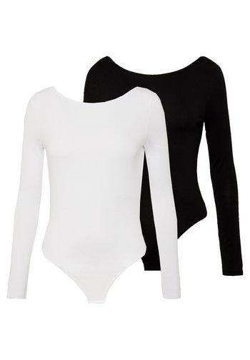 LONG SLEEVE LOW BACK 2 PACK - Long sleeved top - black/ white