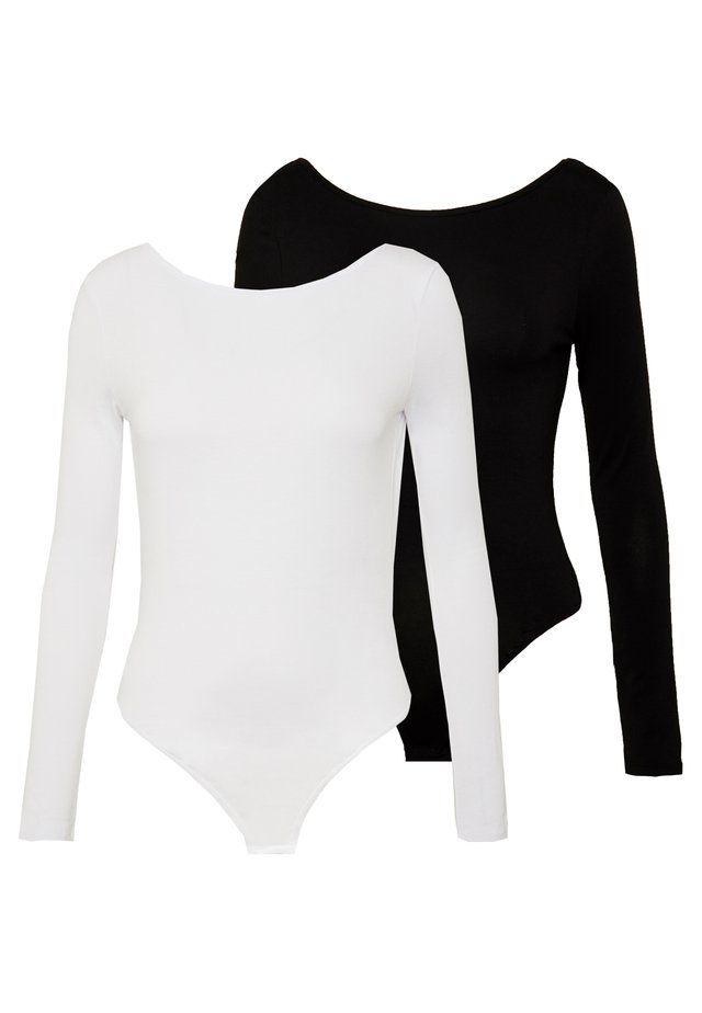 LONG SLEEVE LOW BACK 2 PACK - Long sleeved top - black/ white