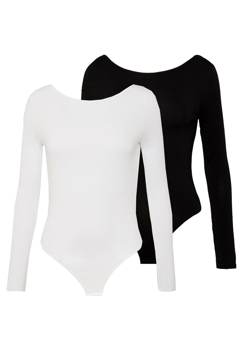 Missguided - LONG SLEEVE LOW BACK 2 PACK - T-shirt à manches longues - black/ white