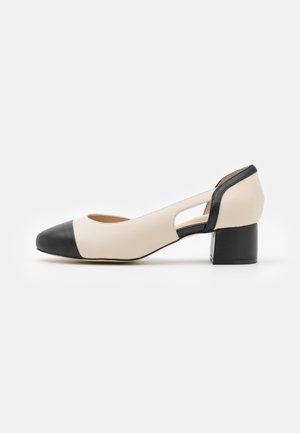 LEATHER - Classic heels - beige/black