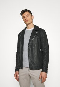 Lindbergh - BIKER JACKET - Leather jacket - black - 0