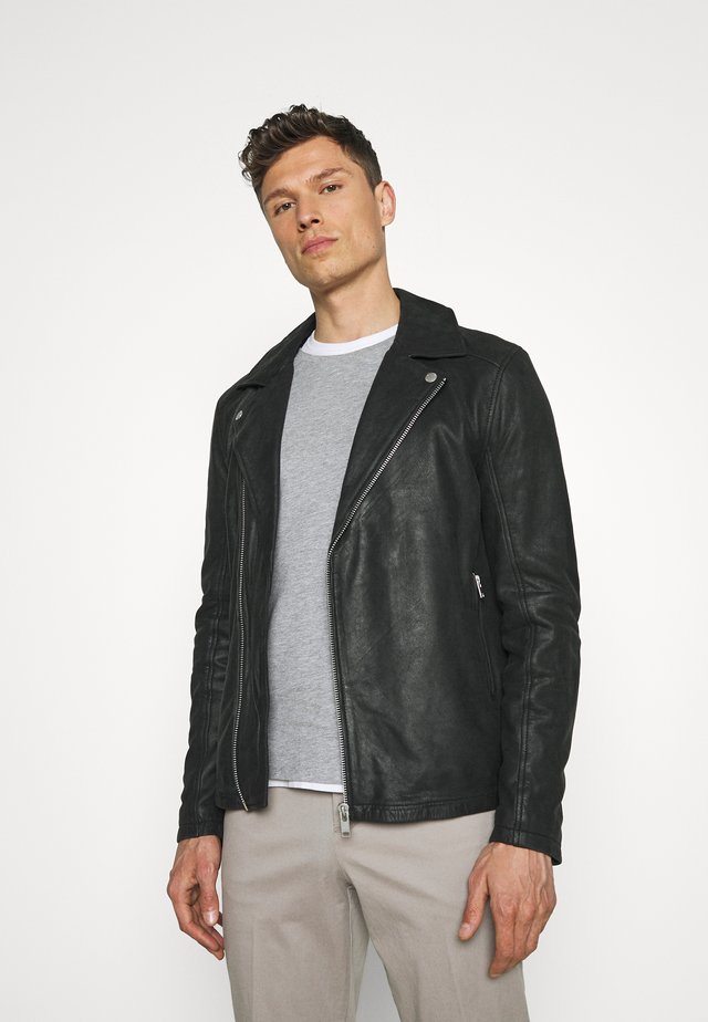 BIKER JACKET - Kožená bunda - black