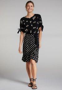 Oui - A-line skirt - black offwhite - 1