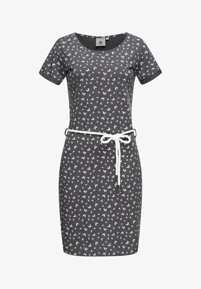 Jersey dress - midgrey melange flowers