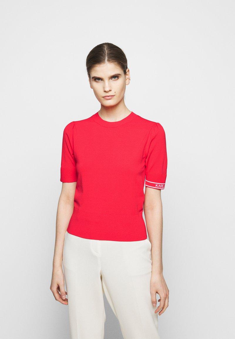 KARL LAGERFELD - PUFF LOGO - Print T-shirt - tangerine