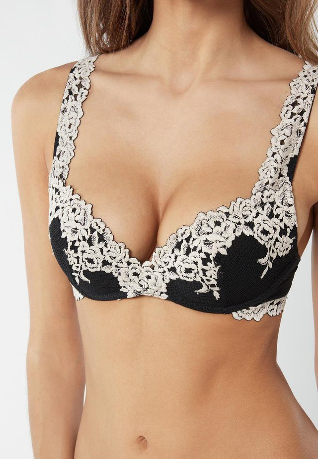PRETTY FLOWERS  - Push-up bra - nero/ivory