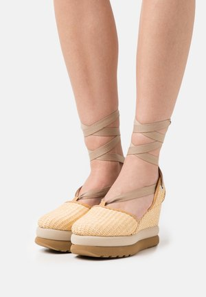 KAY - Platform heels - natural/hellgrau/braun