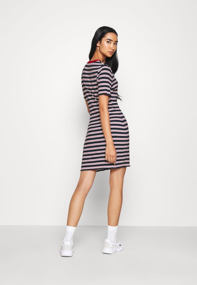 Tommy Jeans - STRIPED TEE DRESS - Jersey dress - twilight navy/white