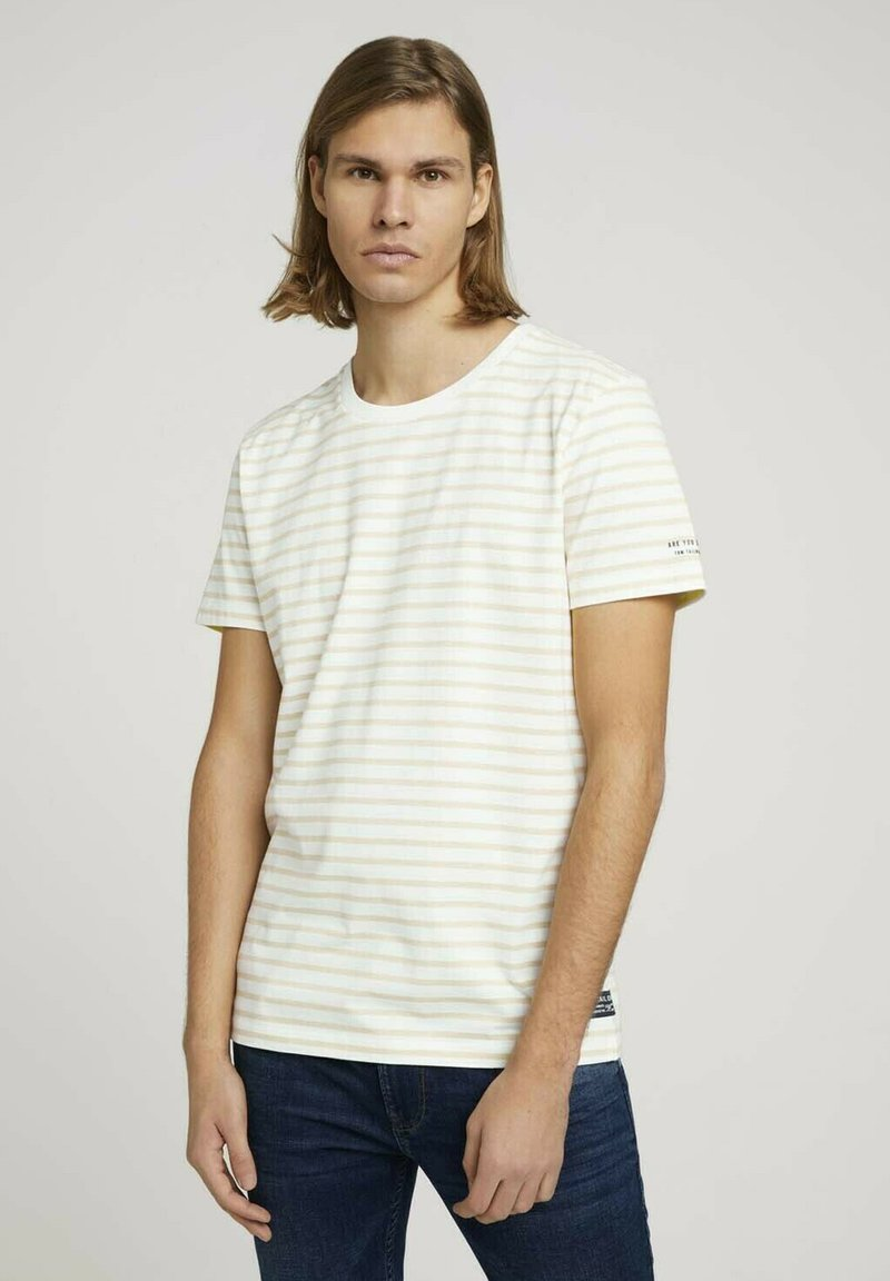 TOM TAILOR DENIM - Print T-shirt - yellow white thin stripe