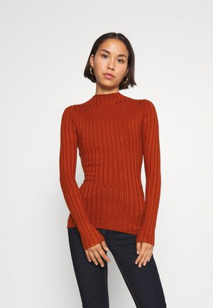 Wide rib jumper - Strikkegenser - brown