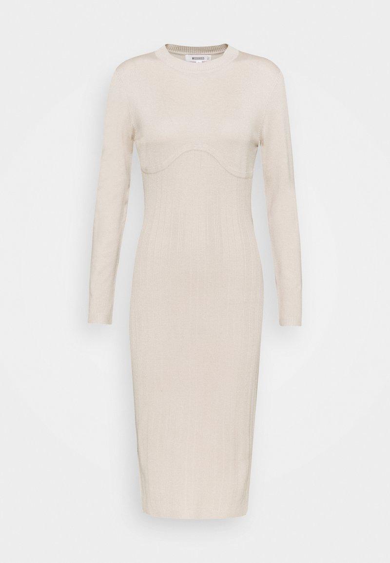 Missguided - SCULPTURED CHEST MIDI DRESS - Jumper dress - stone