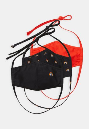 3 PACK - Stoffen mondkapje - black /red