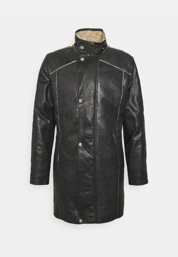 TORBEN - Kožená bunda - black/beige