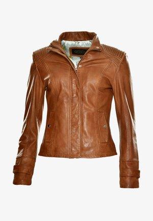 MIT KURZEM STEHKRAGEN - Leather jacket - cognac