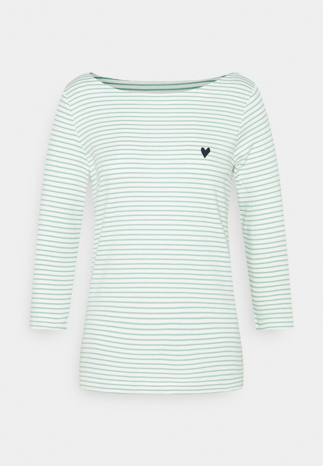 STRIPE BOAT NECK - Long sleeved top - white/green