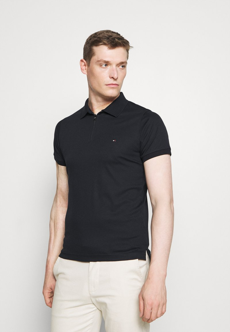 Tommy Hilfiger - INTERLOCK ZIP SLIM  - Polo shirt - desert sky
