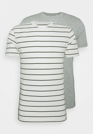 CREWNECK 2 PACK - T-shirt con stampa - single stripe tofu/grey