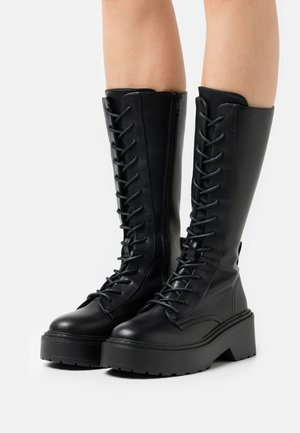 ONLBOSSI HIGH SHAFT LACE UP BOOT - Lace-up boots - black