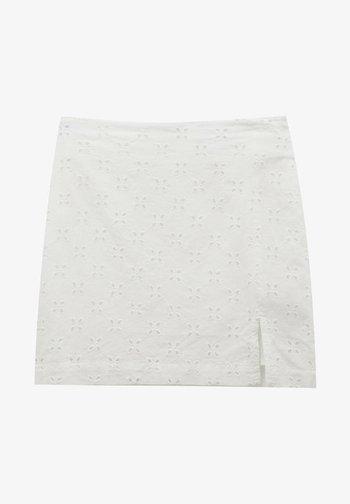 WEISSER SCHWEIZER STICKEREI - Áčková sukně - white