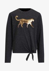 WE Fashion - MET PAILLETTEN EN KNOOPDETAIL - Long sleeved top - dark grey - 0