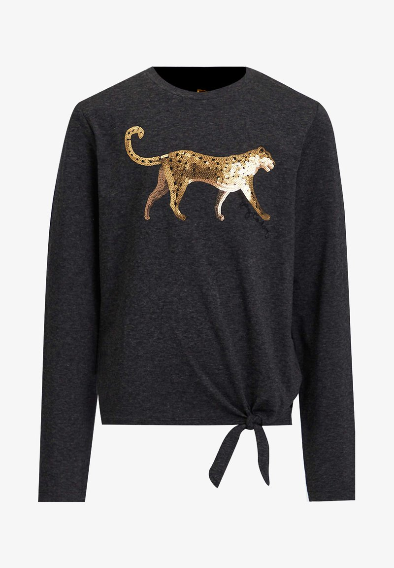 WE Fashion - MET PAILLETTEN EN KNOOPDETAIL - Long sleeved top - dark grey