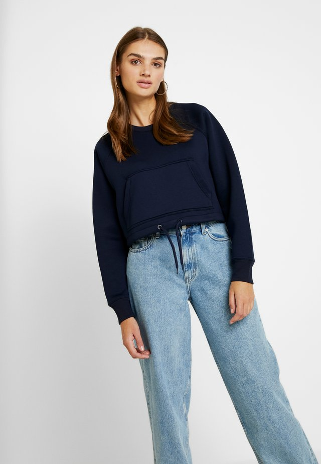 LADIES OVERSIZED SHORT RAGLAN CREW - Sweatshirt - midnigh tnavy
