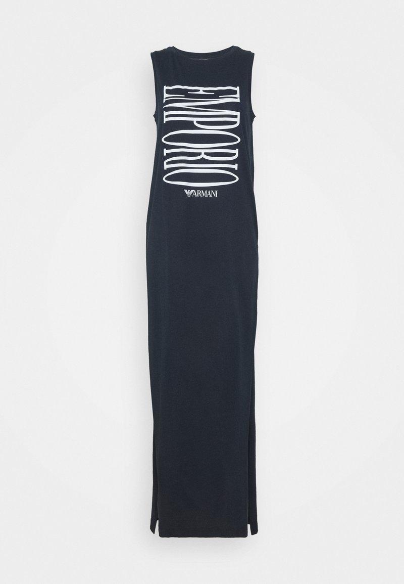 Emporio Armani - LONG TANK DRESS - Beach accessory - marine/white logo