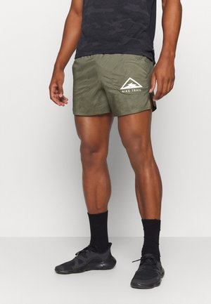 STRIDE TRAIL - kurze Sporthose - medium khaki/black/barely volt
